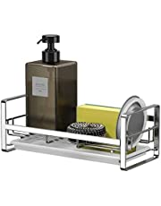 Sink Caddy Organizer Sponge Soap Brush Holder SUS304 Stainless Steel with Drain Pan for Kitchen,Countertop Sponge Rack,Size-Large (9.64x4.33x3.54)