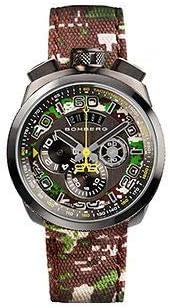[ボンバーグ] メンズ 腕時計 クオーツ クロノグラフ 懐中時計 ポケットウォッチ ボルト68 カモフラージュ リミテッドエディション BOLT-68 BS45CHPGM.038.3 ナイロンベルト 緑 茶 グリーン ブラウン 迷彩 カモ