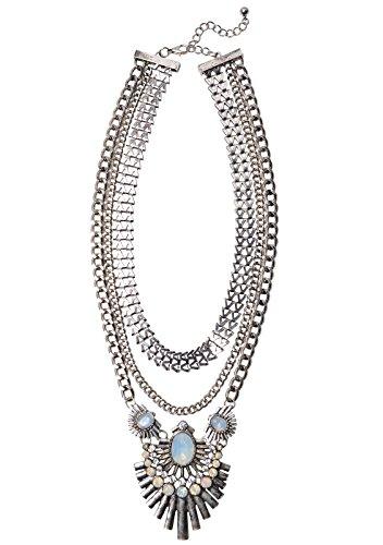 Happiness Boutique Damen Statement Kette Mehrreihig | XXL Halskette Modeschmuck Silber Art Deco nickelfrei