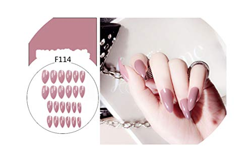 Stiletto fake Nails with glue Long size Pointed Solid color Diy Nail Art 32 Styles press on nails Tips Accessory 24 -