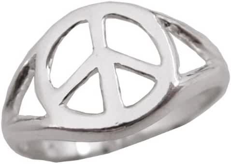 Sterling Silver Polished Peace Sign Peace Symbol Ring .925