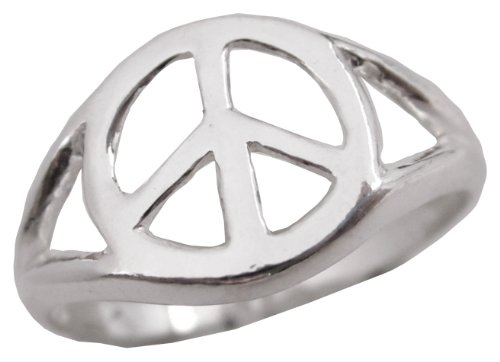 Sterling Silver Polished Peace Sign Peace Symbol Ring .925 Size 5