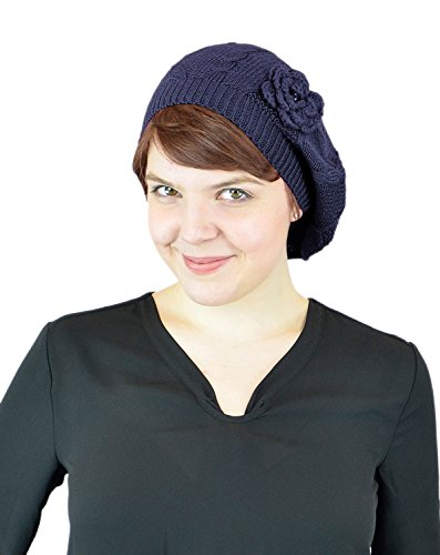 - Belle Donne Women's Mesh Crocheted Accented Stretch Beret Hat- Navy 4082