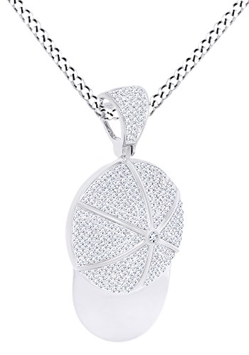 - AFFY Round Shape Simulated White Cubic Zirconia Baseball Cap Hat Pendant in 925 Sterling Silver