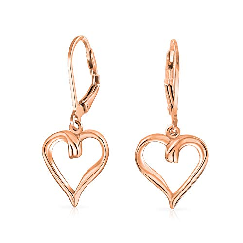 Diamond Earrings Open Heart (Open Heart Shaped Romantic Dangle Leverback Earrings For Women For Girlfriend 1.5 Inch Rose Gold Plated Sterling Silver)