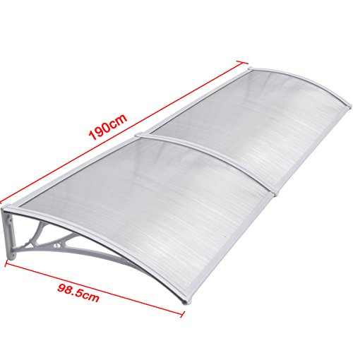 chinkyboo White Easy Fit Door Canopy 190 x98.5x26cm Outdoor Cover Door Window Garden Canopy Patio Porch Awning Shelter?????