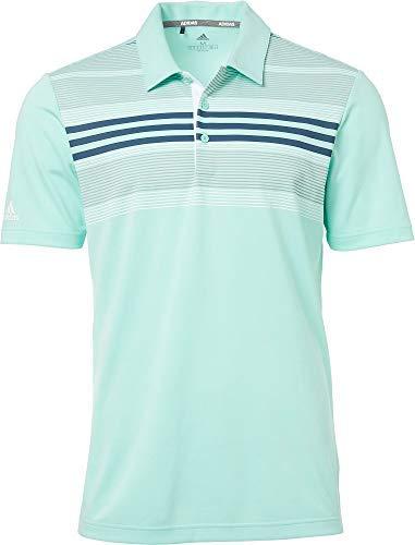 adidas Men's Bold Sport Striped Short Sleeve UPF 50 Golf Polo Shirt (Clear Mint/Sub Blue/Small)