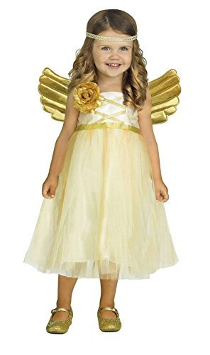 Wholesale Merchadisers LLC Toddler Girls My Angel Baby Dress Costume with Gold Wings (Large (3T - 4T))