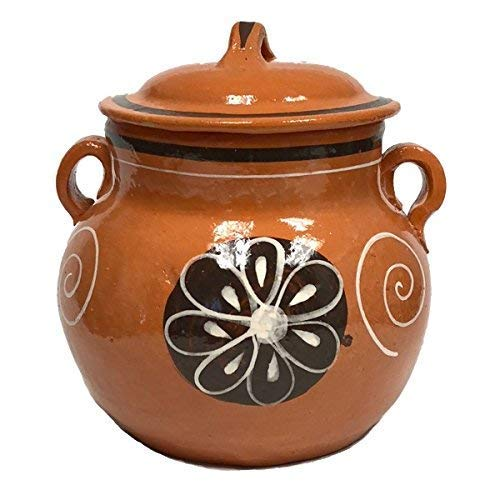 Small Bean Pot - Lead Free Clay Bean Pot with Lid - Olla Floreada con Tapa - 3.5 qt