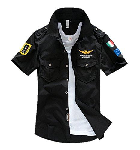 位置するブリリアント矢Makalika メンズ ミリタリー シャツ 半袖 トップス フラップポケット ホワイト ブラック カーキ S-XL