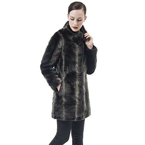 Ladies Leather Mid Length Jacket (DU MONDE Women's Smooth Warm Soft Lush Faux Fur Coats Mid-Length Fluffy Jacket For Winter)