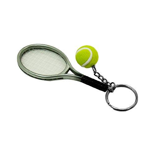 SPHTOEO Creative Alloy Sport Style Tennis Ball Keychain Tennis Racket Key Chain Key Ring 5 Color Set Photo #5
