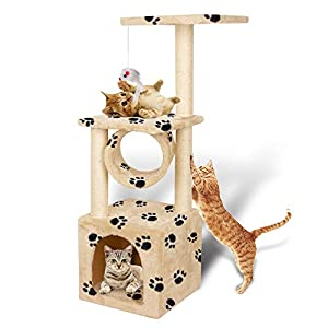 Multifunction Deluxe Cat Tree Climbing Tower Condo House | Activity Tree with Sisal Scratching Posts for Kitten Activity Centre Playhouse, Pet Furniture Cat Tower | Padded Condo | Tunnel | Mouse Toy 28