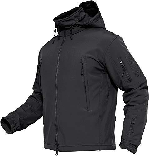 TACVASEN Men's Waterproof Softshell Fleece Jacket with Foldaway Hood