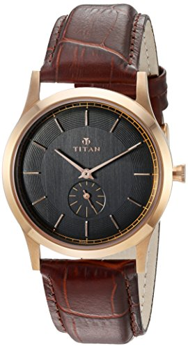 Titan Men's 'Classique' Quartz Stainless Steel and Leather Automatic Watch, Color:Brown (Model: 1674WL01)