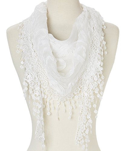 Women Lightweight Flower Lace Silk-blend Scarf / Triangle with Fringe Scarf (White (Blend Scarf)