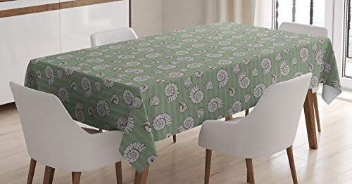 Lunarable Marine Tablecloth, Seashells on Horizontal Stripes Creative Nautical, Dining Room Kitchen Rectangular Table Cover, 60