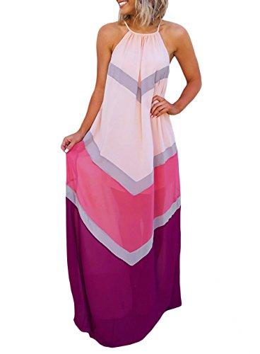 - Aiphun Womens Summer Beach Halter Patchwork Striped Long Chiffon Maxi Dress Pink Sundress XL