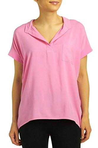 HUE Sleepwear Women's Cap Sleeve Sleep Tee with Pocket, Aurora Pink, Small