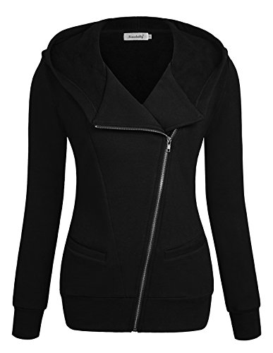 Ninedaily Women Sweatshirt Long Sleeve Zip Up Casual Hoodie Jacket Black 2XL