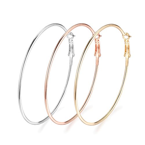 Rongxing 3 Pairs Stainless Steel Hoop Earrings, Gold Plated Rose Gold Plated Silver Plated For Women (multicolor)