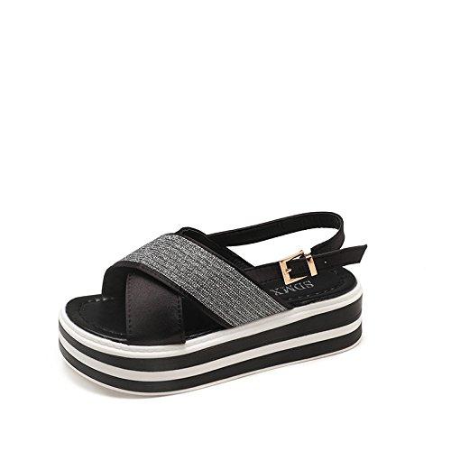 Noir Femme Et Infrieure Shoes Plate t Pour Semelle Boucle Muffin Sandales Jambe paisse Bout Central 46WpfyOOA