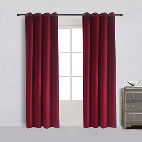 Cherry Home Set of 2 Heavy Velvet Flannel Blackout Window Curtains Drapes with Top Grommet Draperies Eyelet 52 Inches Wide by 120 Inches Long,Burgundy for Bedroom Living Room ()