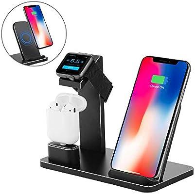YOMENG Soporte de Carga para Apple Watch, Estación de Carga Rápida Qi Inalámbrica 3 en 1 Soportes de Carga de Aluminio para iPhone X XS MAX XR 8 Plus