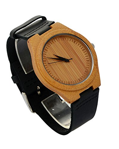 Ideashop® New Arrival Hot Japan Movement Quartz Wooden Watches Creative Gifts Fashion Bamboo Watch With Genuine Cowhide Leather Band Casual Watches For Men - Japan Movement Watch