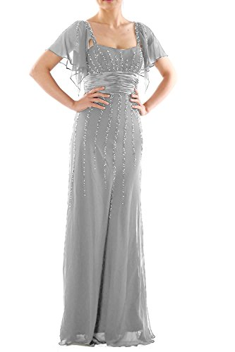 Dress Mother Gown Silber Sleeves Wedding MACloth Long Bride Women the Formal of Party wYw1qETx