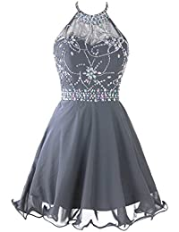 Womens Short Beaded Prom Dress Halter Homecoming Dress Backless