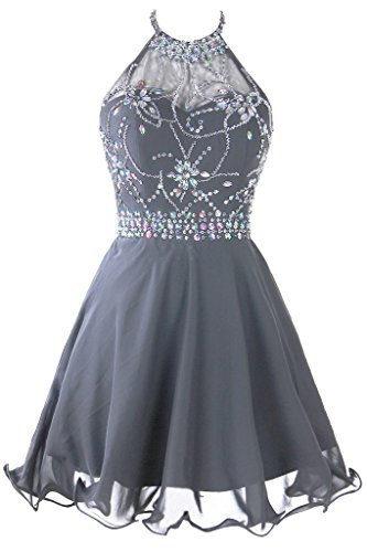 Topdress Women's Short Beaded Prom Dress Halter Homecoming Dress Backless Grey US (Beaded Short Dress Cocktail Dress)