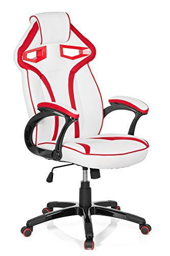 hjh OFFICE 722240 silla gaming GUARDIAN piel sintetica blanco/rojo silla de escritorio