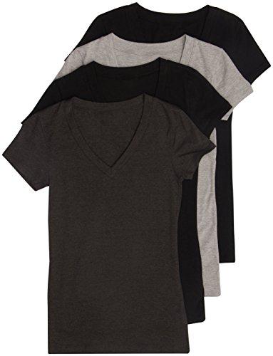 4 Pack Zenana Women's Basic V-Neck Tee Large Black, Black, Charcoal, H Gray
