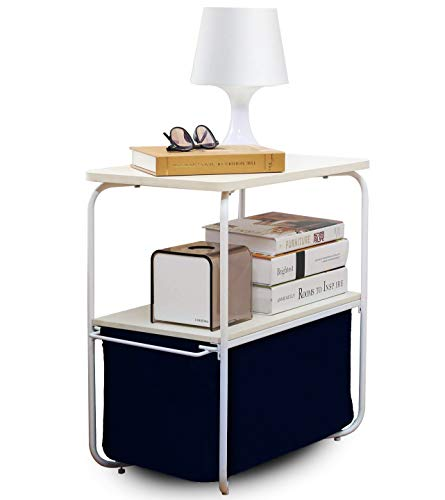 Oh! Trendy 3 Tier Small End Table Side Table with Removable Canvas Storage Bin for Living Room Bedroom Small Space (Navy) ()