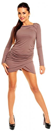 tunique Zeta manches Robe femme Cappuccino longues Ville courte 941z robe jersey gqxYHqwr7