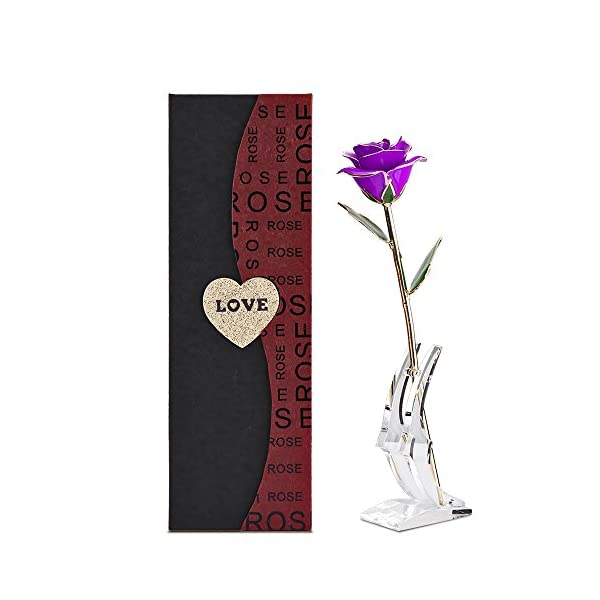 Romantic Gifts For Her, 24K Gold Trimmed Rose Long Stem Flower with Transparent Stand and Exquisite Gift Box for Lover Girl Friend Valentine's day Christmas Home decoration(Purple)