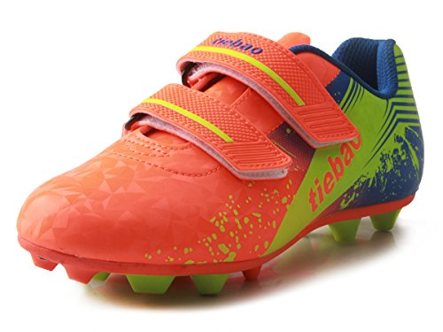 (T&B Soccer Shoes Turf Kids Indoor Sport Velcro Football Boots Orange/Green No.76660A-Ju-32-1.5US)