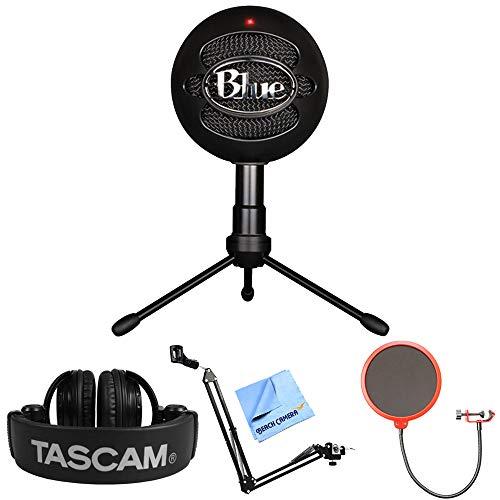 Blue Microphones Snowball iCE Versatile USB Microphone - Black (SNOWBALL iCE Black) + Tascam Closed-Back Headphones + Suspension Boom Scissor Arm Stand + Pop Filter Microphone Wind Screen + More by Blue Microphones