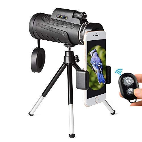 CELINELLE Monocular Telescope 12x50 High Power Waterproof Monocular with Scope Phone Mount & Tripod Monocular Compact Scope BAK4 Prism FMC Monoculars Adults Hunting Birdwatching Camping Travelling