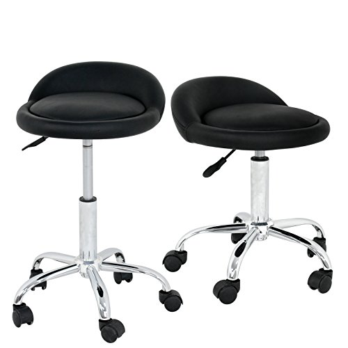 ZENY Pack of 2 Adjustable Hydraulic Massage Rolling Spa Salon Stool Swivel Chair w/Back Rest Saddle18″-24.5″ (2pcs)