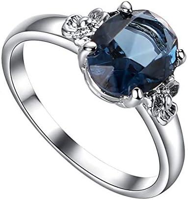 ブルー リング 人工 サファイア 9月 誕生石 キュービック・ジルコニア (CZ) シンプル デザイン シルバー ソリティア 婚