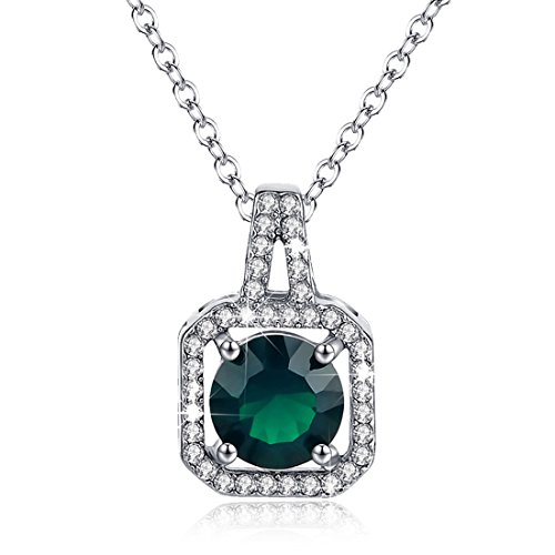 Birthstone Necklace Halo Diamond Emerald Green May Square Pendant Valentine's Day Gifts for Women
