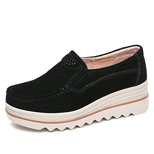 Sanyes Women Platform Slip On Loafers Comfort Suede Moccasins Wide Low Top Wedge Shoes SYSGX3088-Black-36