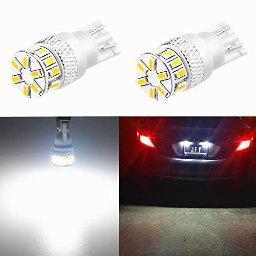 Alla Lighting T10 194 LED Bulb 4014 18-SMD Xtremely Super Bright T10 Wedge LED 194 168 175 2825 W5W 6000K White 12V 194 W5W Bulb for 194 License Plate Tag Back-Up Reverse Light Lamp Bulbs (set of 2) -