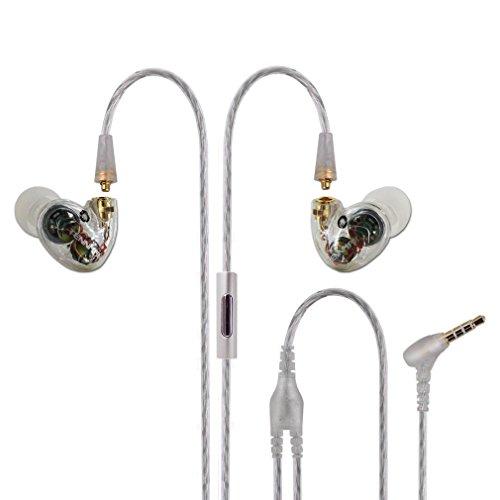 Tennmak Pro Dual Dynamic Driver Detachable Sport Earhook Detachable In Ear Earphones , MMCX Earphone with 4 drivers (WHITE MIC)