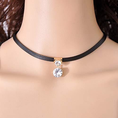 - Wausa Retro Velvet Leather Heart Choker Collar Punk Goth Rivet Necklace Love O-Ring | Model RNG - 10535 |
