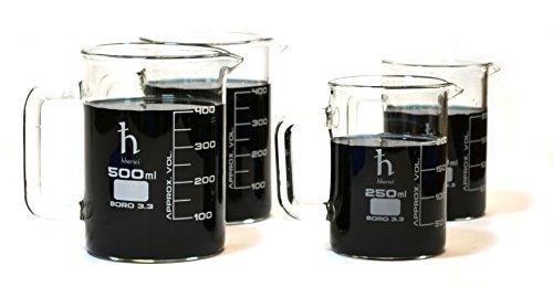 Premium Hand Crafted Beaker Mugs, Laboratory Quality Borosilicate Glass, Kitchen Set, (2) 16.9oz (500mL) Capacity and (2) 8.4oz (250mL) Capacity