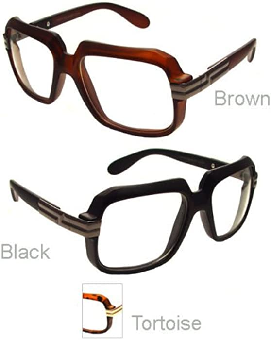 7b658071dee Matte Brown Frame Matte Run Dmc Cazal Clear Lens Gazelle Style Sun Glasses  with Metal Accents