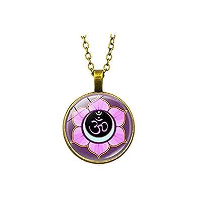 Om símbolo collar yoga joyas morado flor arte colgante ...